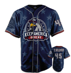 Rock this Keep America Great baseball Jersey with American pride! This #45 TRUMP jersey is a must have for your patriotic clothing collection.