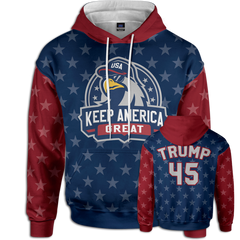 The original KEEP AMERICA GREAT hoodie. The only team to be on where we put America First! This #45 TRUMP hoodie is a must have for your patriotic clothing wardrobe.