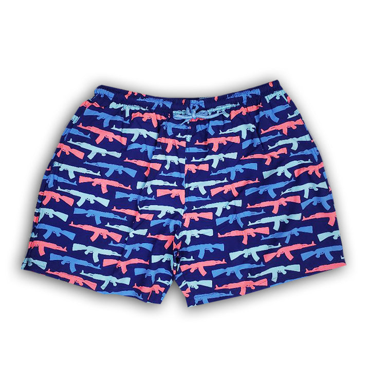 Suns Out Guns Out Blue Stretch Swim Shorts