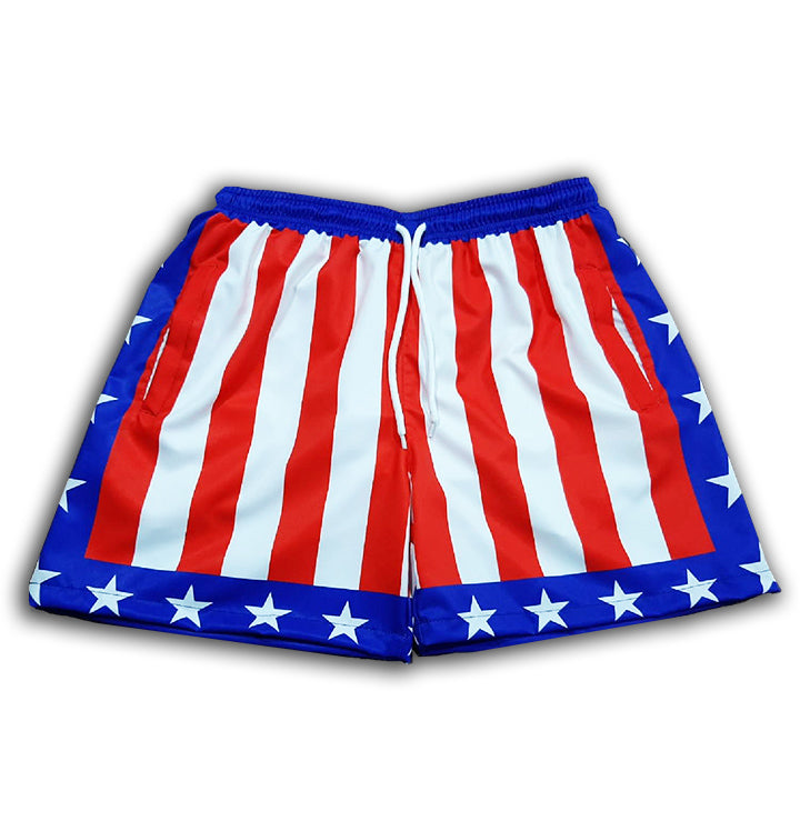 American Flag Swim Trunks Men Rocky Allstars 4-Way stretch swim shorts