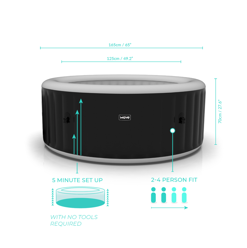PRE-ORDER (Delivery 6th October, 2021) - Wave Spa Atlantic Black Inflatable Hot Tub with Integrated Heater (2-4 Person)