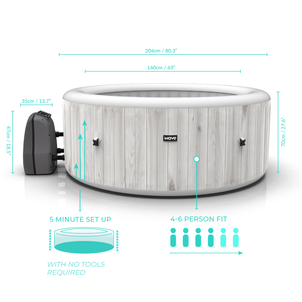 PRE-ORDER (Delivery 8th September 2021) - Atlantic Plus White Wood Inflatable Hot Tub (4-6 Person)