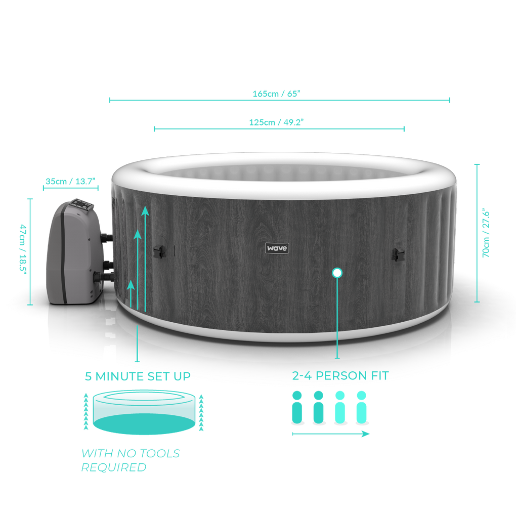 PRE-ORDER (Delivery 14th July 2021) - Wave Spa Atlantic Greywood Inflatable Hot Tub (2-4 Person)