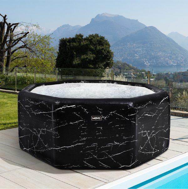 PRE-ORDER (Delivery 7th July 2021) - Rome Drop Stitch High Pressure Black Marble Inflatable Hot Tub (4-6 Person)