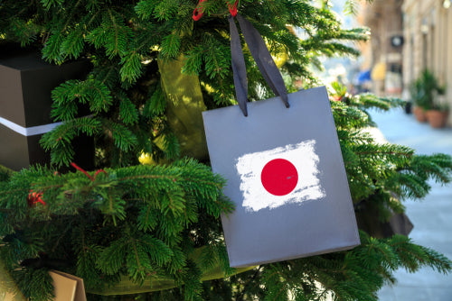 japan flag printed on christmas shopping bag