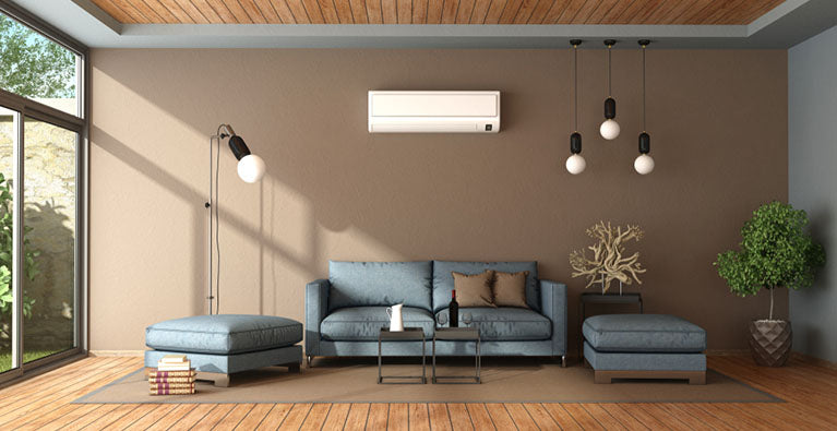 living room with air conditioner unit