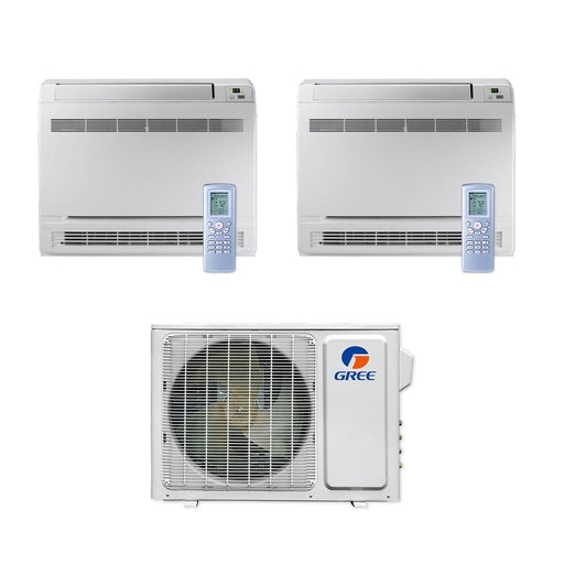 Gree 18,000 BTU Multi21+ Dual-Zone Floor Console Mini Split Air Conditioner Heat Pump 208/230V SEER 22 (9-9)