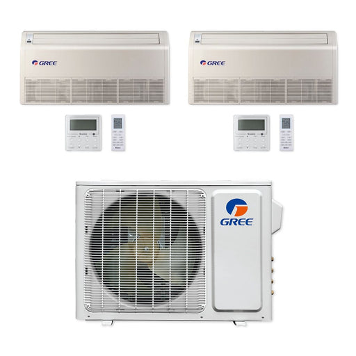 Gree 18,000 BTU Multi21+ Dual-Zone Floor/Ceiling Mini Split Air Conditioner Heat Pump 208/230V SEER 22 (9-9)