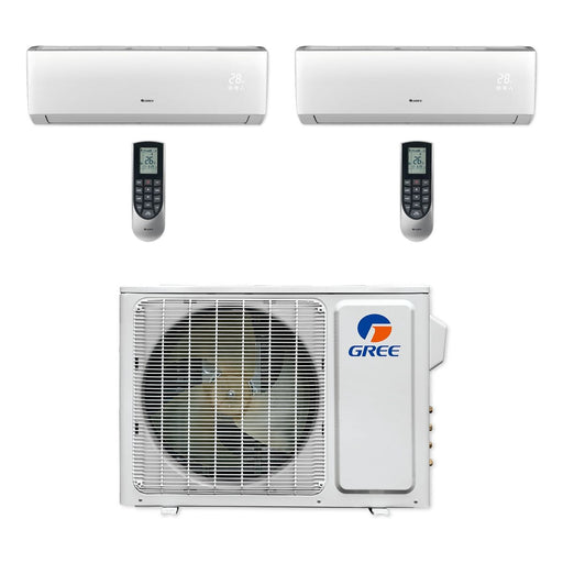 Gree 18,000 BTU Multi21+ Dual-Zone Wall Mount Mini Split A/C Heat Pump 208/230V SEER 21 (9-9) - Built-In Wi-Fi