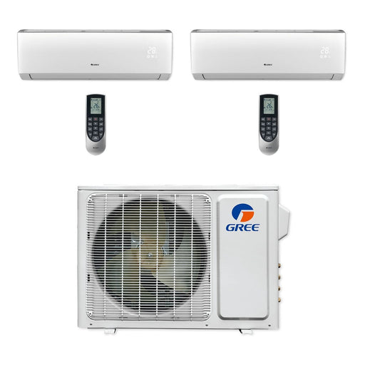Gree 18,000 BTU Multi21+ Dual-Zone Wall Mount Mini Split A/C Heat Pump 208/230V SEER 22 (9-9) Built-in Wi-Fi