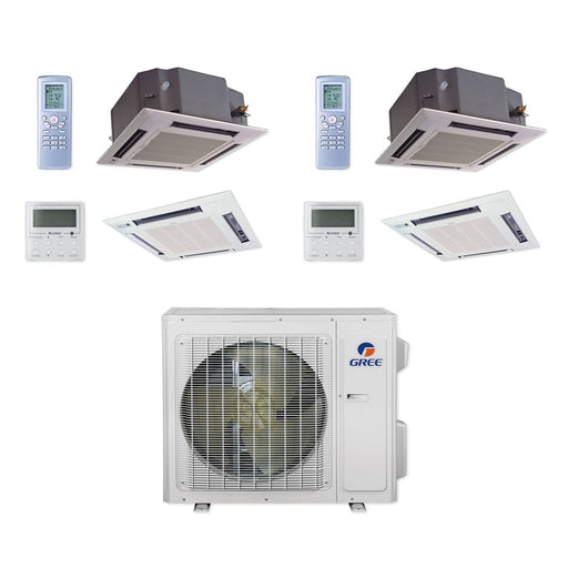 Gree 24,000 BTU Multi21+ Dual-Zone Ceiling Cassette Mini Split Air Conditioner Heat Pump 208/230V SEER 21 (12-18)