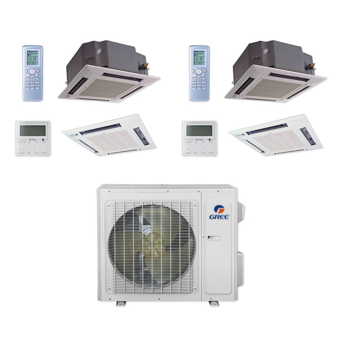 24,000 BTU Multi21+ Dual-Zone Ceiling Cassette Mini Split Air Conditioner Heat Pump 208-230V (12-18)