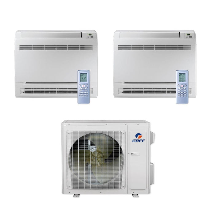 Gree 24,000 BTU Multi21+ Dual-Zone Floor Console Mini Split Air Conditioner Heat Pump 208/230V SEER 21 (9-18)
