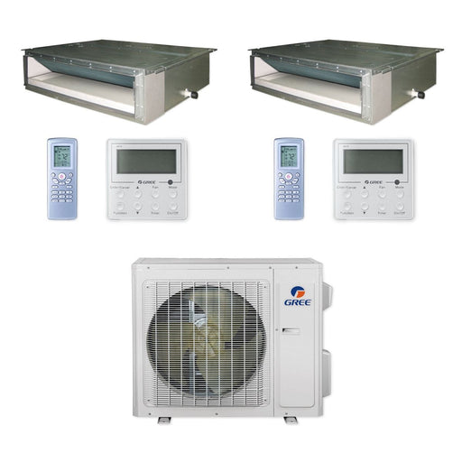 Gree 24,000 BTU Multi21+ Dual-Zone Concealed Duct Mini Split Air Conditioner Heat Pump 208/230V SEER 21 (12-18)
