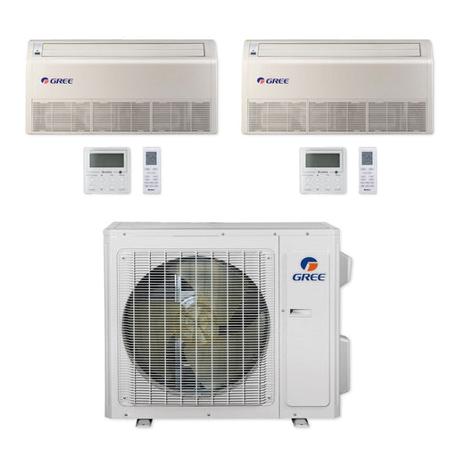 Gree 24,000 BTU Multi21+ Dual-Zone Floor/Ceiling Mini Split Air Conditioner Heat Pump 208/230V SEER 21 (9-9)