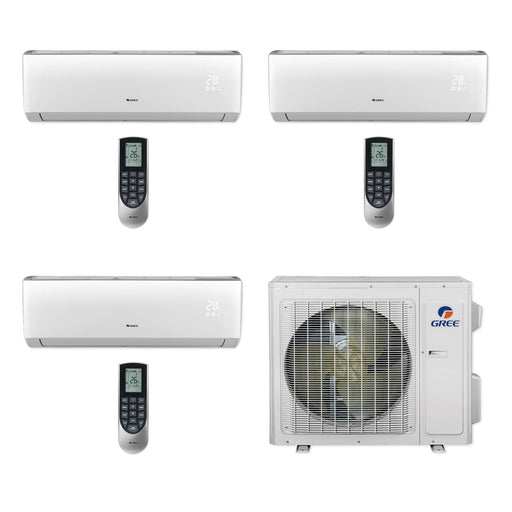 Gree 24,000 BTU Multi21+ Tri-Zone Wall Mount Mini Split Air Conditioner Heat Pump 208/230V SEER 21 (9-9-9)