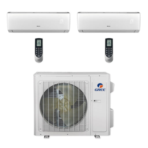 Gree 24,000 BTU Multi21+ Dual-Zone Wall Mount Mini Split Air Conditioner Heat Pump 208/230V SEER 21 (9-9)