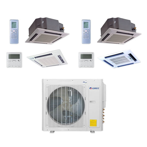 Gree 30,000 BTU Multi21+ Dual-Zone Ceiling Cassette Mini Split Air Conditioner Heat Pump 208/230V SEER 21 (12-24)