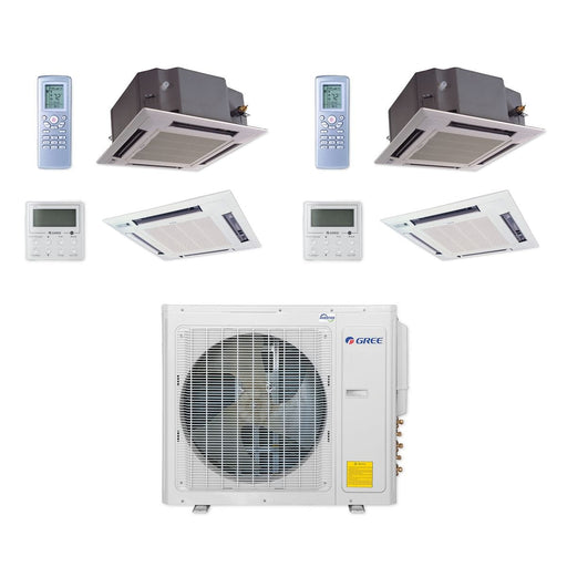 Gree 30,000 BTU Multi21+ Dual-Zone Ceiling Cassette Mini Split Air Conditioner Heat Pump 208/230V SEER 21 (18-18)