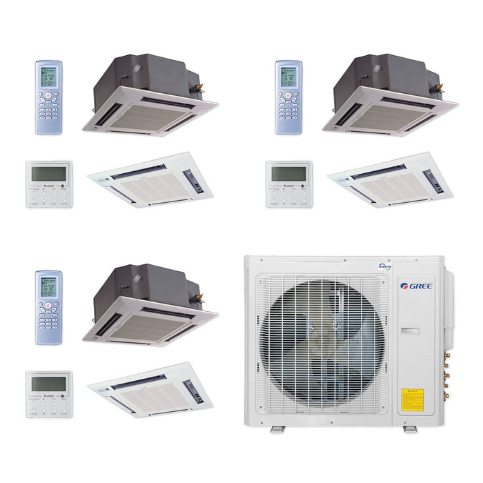 Gree 30,000 BTU Multi21+ Tri-Zone Ceiling Cassette Mini Split Air Conditioner Heat Pump 208/230V SEER 21 (12-12-12)
