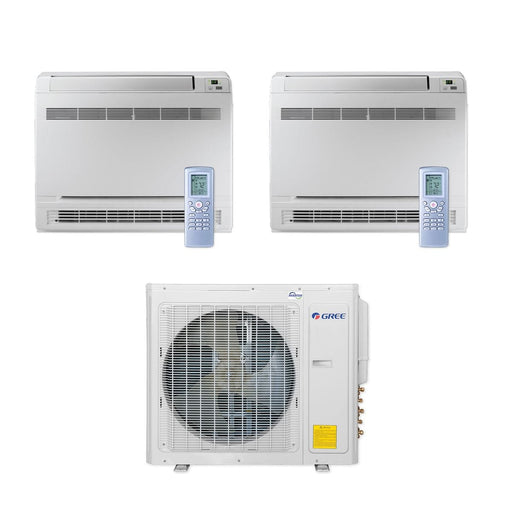 Gree 30,000 BTU Multi21+ Dual-Zone Floor Console Mini Split Air Conditioner Heat Pump 208/230V SEER 21 (18-18)