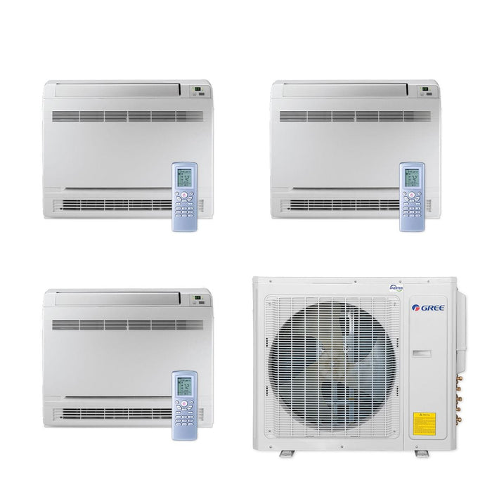 Gree 30,000 BTU Multi21+ Tri-Zone Floor Console Mini Split Air Conditioner Heat Pump 208/230V SEER 21 (9-9-9)
