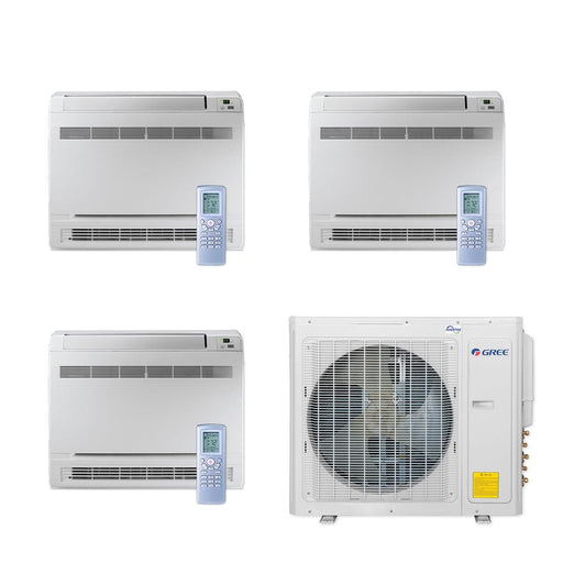 Gree 30,000 BTU Multi21+ Tri-Zone Floor Console Mini Split Air Conditioner Heat Pump 208/230V SEER 21 (9-9-12)