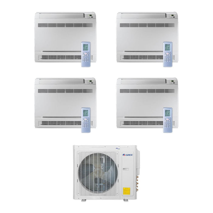 30,000 BTU Multi21+ Quad-Zone Floor Console Mini Split Air Conditioner Heat Pump 208-230V (9-9-9-12)