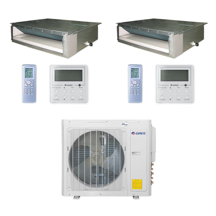 Gree 30,000 BTU Multi21+ Dual-Zone Concealed Duct Mini Split Air Conditioner Heat Pump 208/230V SEER 21 (18-18)