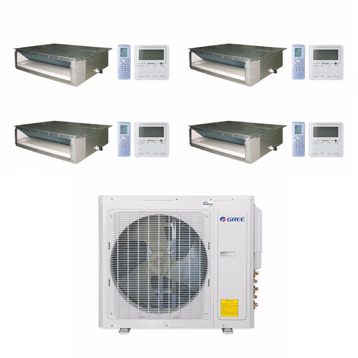 Gree 30,000 BTU Multi21+ Quad-Zone Concealed Duct Mini Split Air Conditioner Heat Pump 208/230V SEER 21 (9-9-9-9)