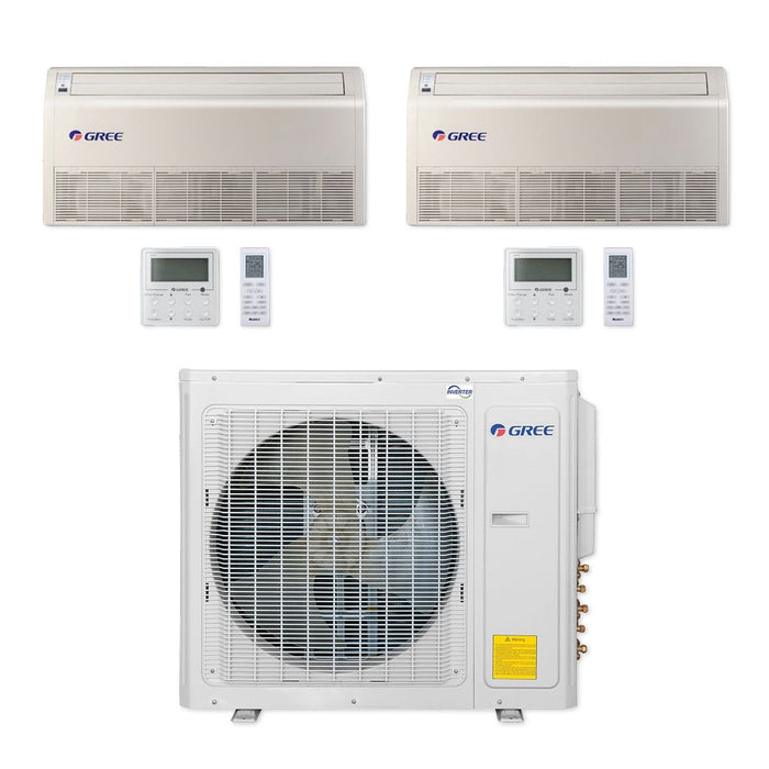Gree 30,000 BTU Multi21+ Dual-Zone Floor/Ceiling Mini Split Air Conditioner Heat Pump 208/230V SEER 21 (12-24)