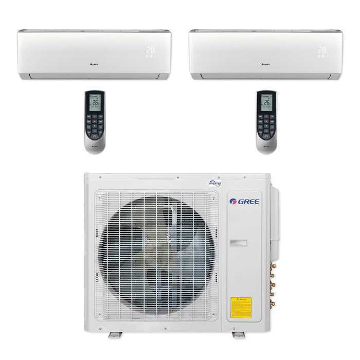 Gree MULTI30CLIV200 - 30,000 BTU Multi21+ Dual-Zone Wall Mount Mini Split Air Conditioner Heat Pump 208-230V (9-9)