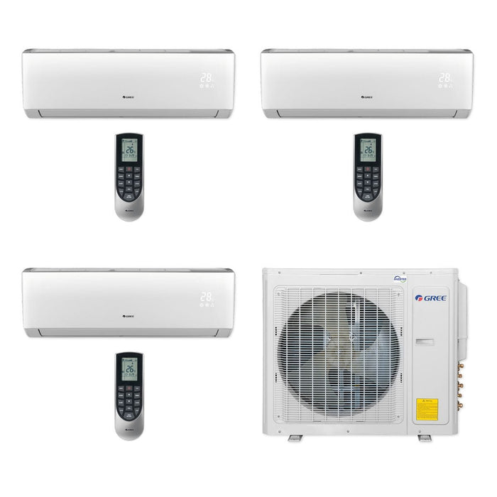 Gree 30,000 BTU Multi21+ Tri-Zone Wall Mount Mini Split Air Conditioner Heat Pump 208/230V SEER 21 (12-12-18)
