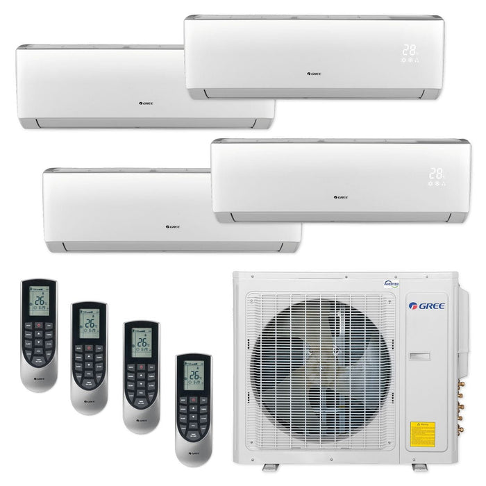30,000 BTU Multi21+ Quad-Zone Wall Mount Mini Split Air Conditioner Heat Pump 208-230V (9-9-12-12)