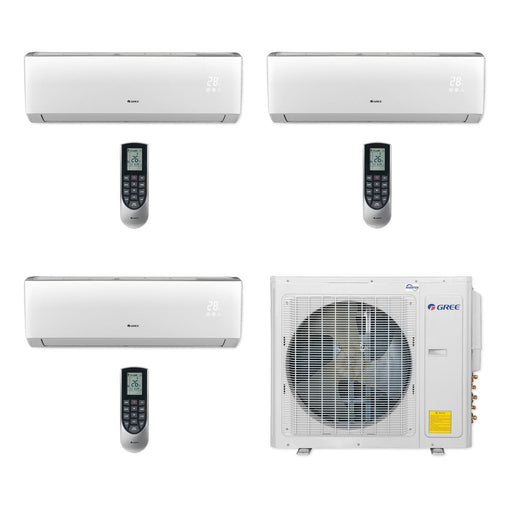 Gree 30,000 BTU Multi21+ Tri-Zone Wall Mount Mini Split Air Conditioner Heat Pump 208/230V SEER 21 (9-9-12)