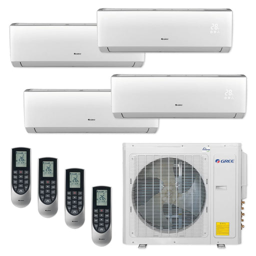 Gree 30,000 BTU Multi21+ Quad-Zone Wall Mount Mini Split A/C Heat Pump 208/230V SEER 21 (9-9-9-12) Built-in Wi-Fi