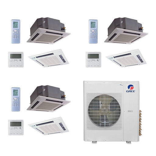 Gree 36,000 BTU Multi21+ Tri-Zone Ceiling Cassette Mini Split Air Conditioner Heat Pump 208/230V SEER 21 (12-12-12)