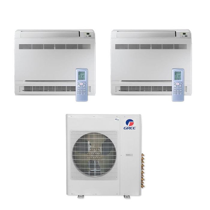 Gree 36,000 BTU Multi21+ Dual-Zone Floor Console Mini Split Air Conditioner Heat Pump 208/230V SEER 21 (18-18)
