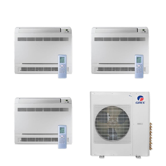 Gree 36,000 BTU Multi21+ Tri-Zone Floor Console Mini Split Air Conditioner Heat Pump 208/230V SEER 21 (9-12-12)