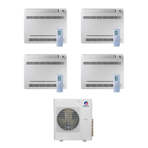 Gree 36,000 BTU Multi21+ Quad-Zone Floor Console Mini Split Air Conditioner Heat Pump 208/230V SEER 21 (9-12-12-12)