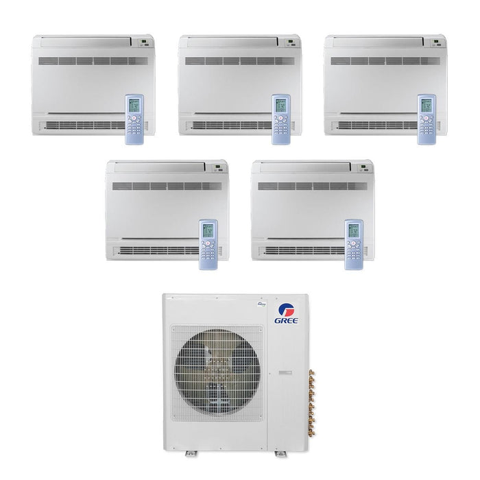 Gree 36,000 BTU Multi21+ Penta-Zone Floor Console Mini Split Air Conditioner Heat Pump 208/230V SEER 21 (9-9-9-9-9)