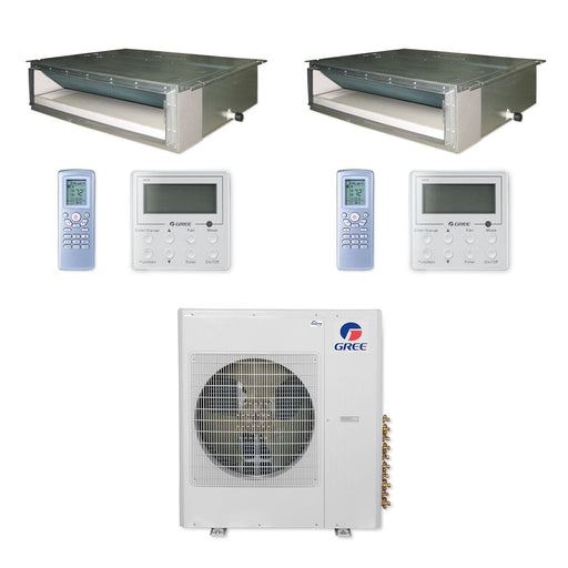 Gree 36,000 BTU Multi21+ Dual-Zone Concealed Duct Mini Split Air Conditioner Heat Pump 208/230V SEER 21 (24-24)