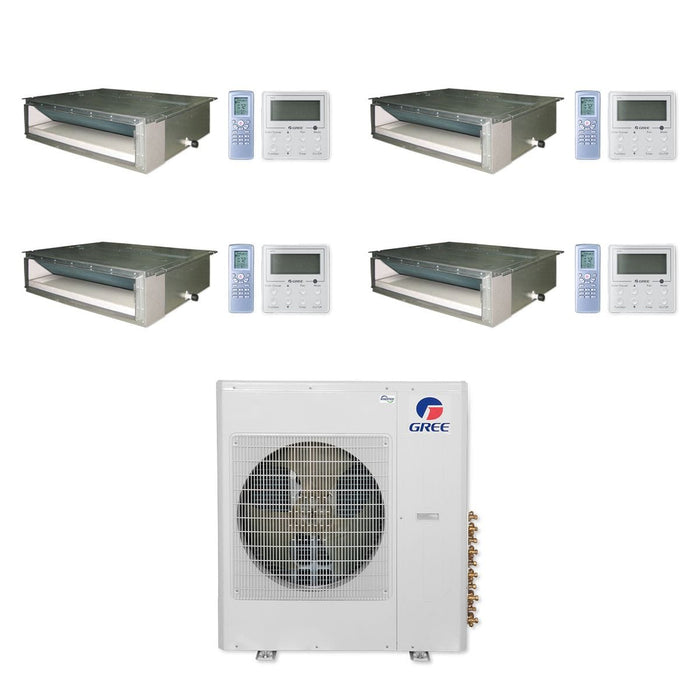 Gree 36,000 BTU Multi21+ Quad-Zone Concealed Duct Mini Split Air Conditioner Heat Pump 208/230V SEER 21 (9-9-12-18)