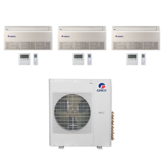 Gree 36,000 BTU Multi21+ Tri-Zone Floor/Ceiling Mini Split Air Conditioner Heat Pump 208/230V SEER 21 (9-9-12)