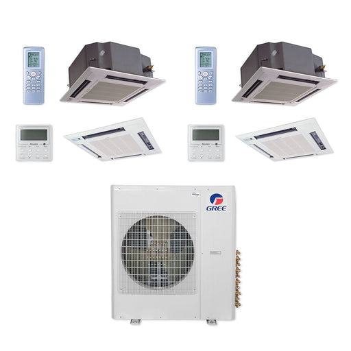 Gree MULTI42CCAS204 - 42,000 BTU Multi21+ Dual-Zone Ceiling Cassette Mini Split Air Conditioner Heat Pump 208-230V (12-12)