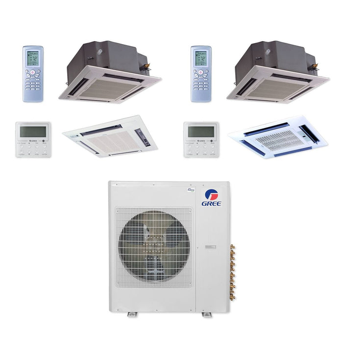 Gree 42,000 BTU Multi21+ Dual-Zone Ceiling Cassette Mini Split Air Conditioner Heat Pump 208/230V SEER 21 (12-24)