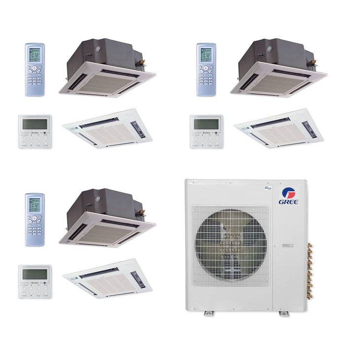 Gree 42,000 BTU Multi21+ Tri-Zone Ceiling Cassette Mini Split Air Conditioner Heat Pump 208/230V SEER 21 (12-18-18)
