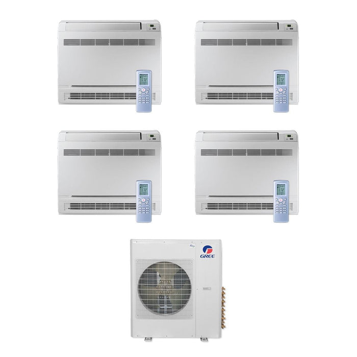 Gree 42,000 BTU Multi21+ Quad-Zone Floor Console Mini Split Air Conditioner Heat Pump 208/230V SEER 21 (9-9-9-12)