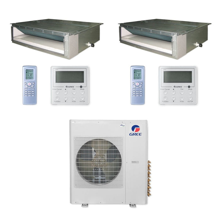 Gree 42,000 BTU Multi21+ Dual-Zone Concealed Duct Mini Split Air Conditioner Heat Pump 208/230V SEER 21 (18-18)