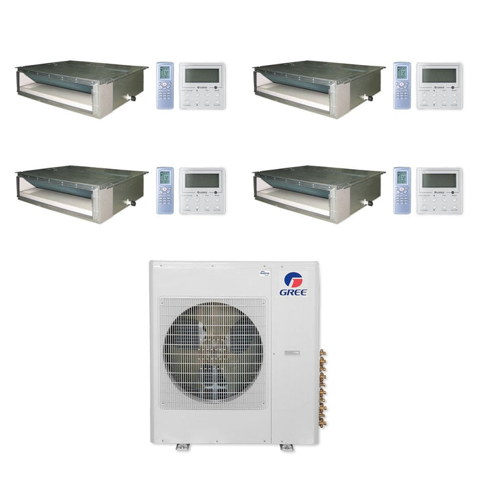 Gree 42,000 BTU Multi21+ Quad-Zone Concealed Duct Mini Split Air Conditioner Heat Pump 208/230V SEER 21 (9-9-9-18)